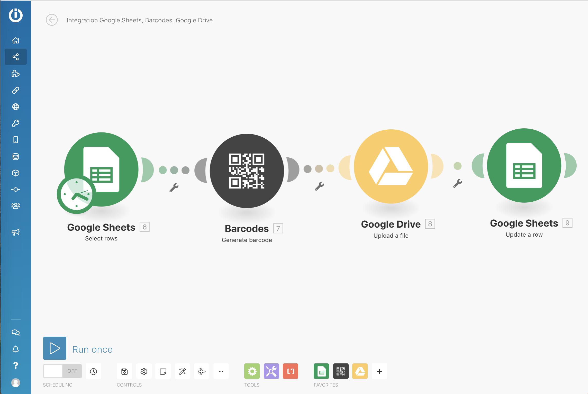 How to make QR code in Google Sheet using Integromat com